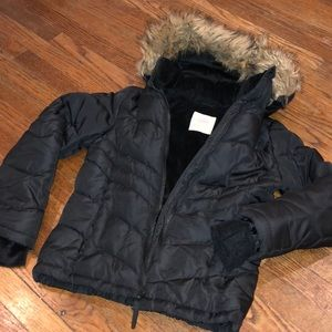 Girls Black Puffer Coat removable fur hat sz 7/8